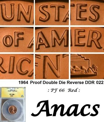 1964 Anacs PF66 Red Lincoln Cent Penny Proof Double DDR 022 Doubled Die Reverse*