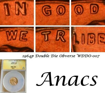 1964 Anacs MS66 RD Lincoln Cent Penny WDDO-007 DDO Doubled Die Obverse* EDS* T24