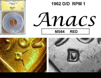 1962 D/D Anacs MS64 RD RED Lincoln Cent Penny RPM 1*