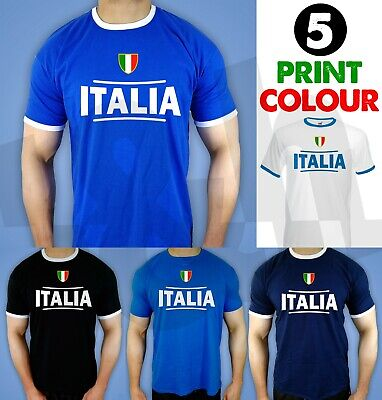 Retro Italia Football T-Shirt Top Italy Italian Football ideal fancy dress