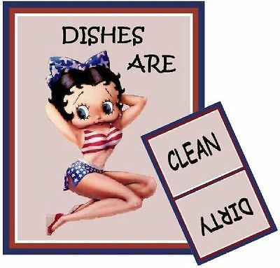 BETTY BOOP  Dishwasher MAGNET (Clean/Dirty)