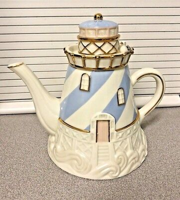 Lenox Seaside Lighthouse Teapot Fine China 2003  w/Gold Trim Beach Theme Seagull