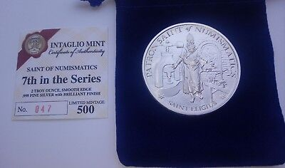 2oz Fine Silver St Eligius Round  Extremely Low Mintage of 500. Numbered COA