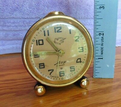 MUP Soviet Russia Alarm Clock Mini mechanical wind up KAMHEN Dove logo Vintage