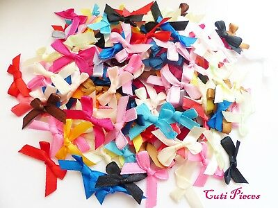 Craft 50pcs Mix Colours Small Tied Bows Satin Ribbon Bow-Tie Embellishments  BT1