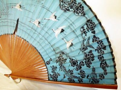 antiker handbemalter Fächer-Kraniche-1920-ASIA-antique handpainted fan-crane