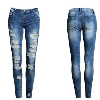 Women High Waist Pencil Stretch Casual Look Denim Skinny Jeans Pants Trousers