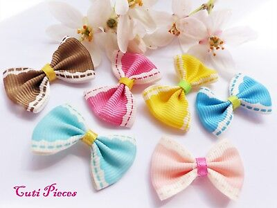 Craft Mixed Sewn Edge Effect Pre-Tied Bows Ribbon Satin BowTie Embellishment BT2