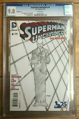 Superman Unchained #4 2014 Lee Snyder 1:300 Sketch Variant CGC 9.8