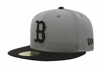 New Era 59Fifty MLB Baseball Cap Boston Red Sox Fitted Hat Storm Gray Black 5950