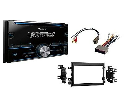 pioneer fh-s500bt double din bluetooth stereo install kit w wire harness