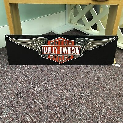 "Harley-Davidson Motor Cycles Wings 23"" Embossed Metal Tin Sign - Free Shipping"