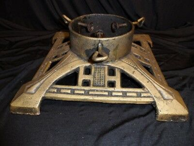 Large Gold Tone Iron Vintage Christmas Tree Stand