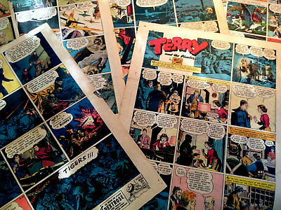 Lot Of 6 Striking Terry & The Pirates 1937-43-Milton Caniff Tabloids-Vg+