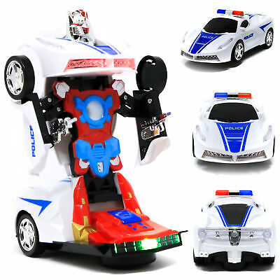 Retailery 2-In-1 Robot Toy Police Car Transformer Robot With Lights And Sounds