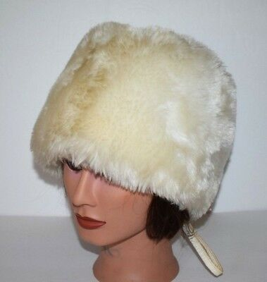 Vintage Blonde Ivory White Faux Fur Hat w/ Zip Back - Womens Size 7 1/8 or S/M