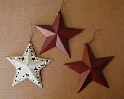 "3 PC AMERICANa RED STAR HEARTs primitive Country 5.5"" Tin Metal Barn stars Sign"