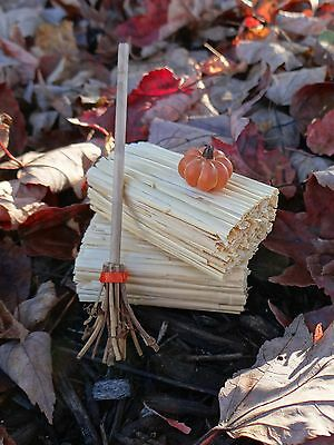 "Dollhouse Miniature Halloween Witch's Broom 1"" Scale 1:12 Fairy Garden Accessory"