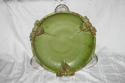 LARGE Handcrafted Ceramic Pottery Display Art Plate w stand WILD OLIVE CO Bowl