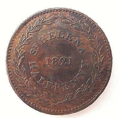 1821   St Helena  Halfpenny Coin  - Not Much Wear