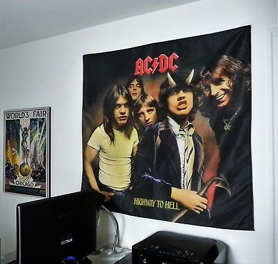 AC/DC Highway to Hell HUGE 4X4 BANNER fabric poster tapestry cd album wall decor