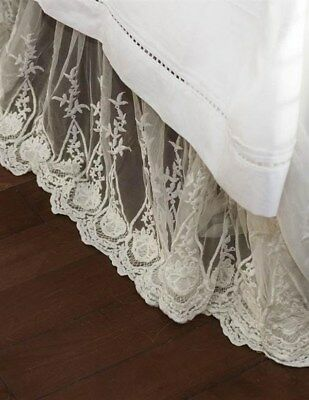 Victorian Trading Co Ivory Lace Bedskirt Queen Size 90x90