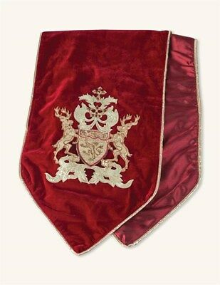 Victorian Trading Co NWOT English Christmas Velvet Runner Red Gold 23A