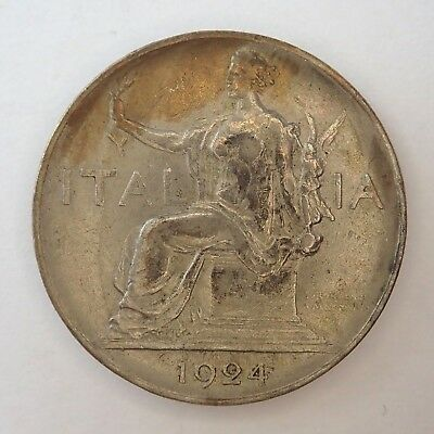 Italy  1924R  One Lira Coin -  Nice Condition