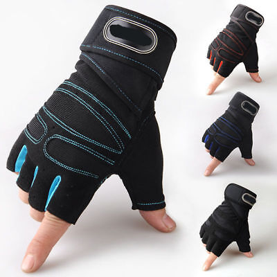 Gym Fitness Padded Gloves Mens Weight Lifting Training Wrist Support Wrap Strap