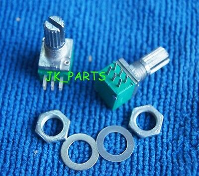5pcs B50K RK097G Audio Amplifier Sealed Dual Potentiometer 15mm Shaft 6PINS