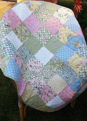 Handmade patchwork quilt - fabrics by Sharon Reynolds - The Hatfields, pastels