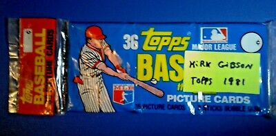 Kirk Gibson Unopened 1981 Topps Baseball Card Grocery Rack Pack - Free Shipping