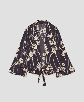 Zara Navy & Cream Printed Flowing Jacket Blazer Size L UK 14 Bnwt