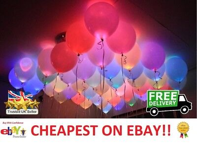 100 x LED Balloons Light Up PERFECT PARTY Decoration Wedding Kids Birthday UK!