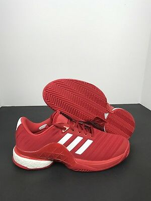 competitive price a37bf 11289 Mens Adidas Barricade 2018 Boost Clay Tennis Shoes Sz 8 ScarletWhite  Db1747