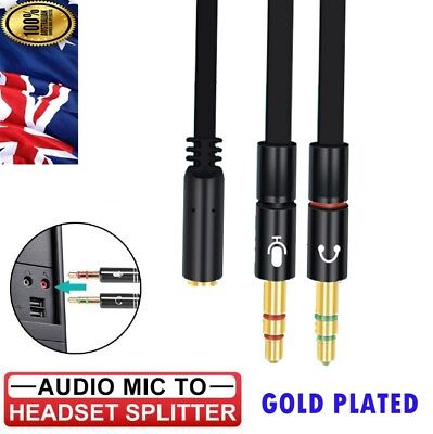 AUX Cable 3.5mm Audio Mic Splitter Female to 2 Male Headphone Microphone Adapter