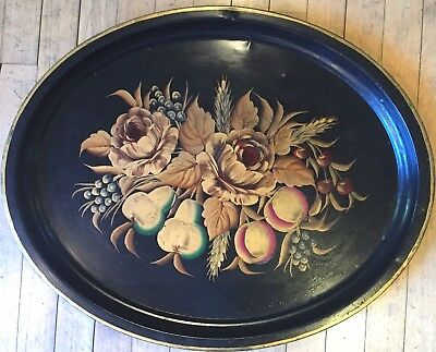 Large Antique Hand Painted Toleware Serving Tray Floral Delight