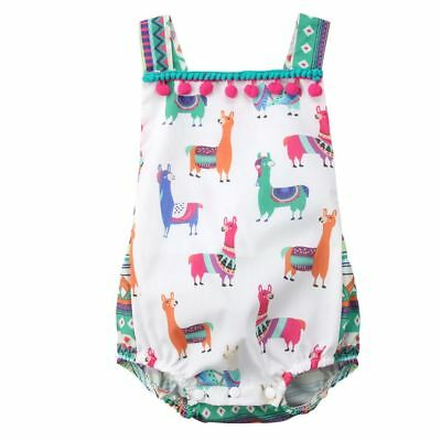 Outfits Clothes Sunsuit Tassel Cute Alpaca Llama Newborn Baby Romper Jumpsuit