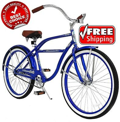 Beach Cruiser Bicycle Bike Mens 26 Inch Vintage Styling Steel Frame Fenders Ride