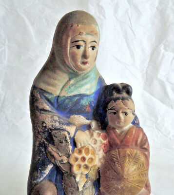 4.3 inch Japanese Antique Clay doll : Mother and the Child have a Sugegasa Hat