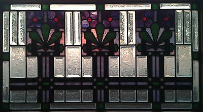 Art Deco Leaded Stained and Beveled Glass Window.