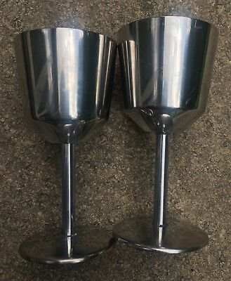 Pair Of Vintage Stainless Steel Metal Small Wine Glasses Goblet Retro 60s 70s X2