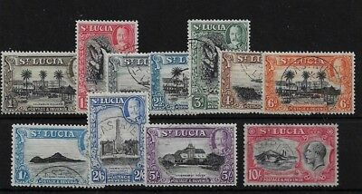 ST LUCIA SG114/24, 1936 SET (EXCEPT ½d) VERY FINE USED