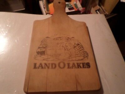 Vintage Land O Lakes Wooden Cutting Board 14 inches X 7 inches UNIQUE DESIGN
