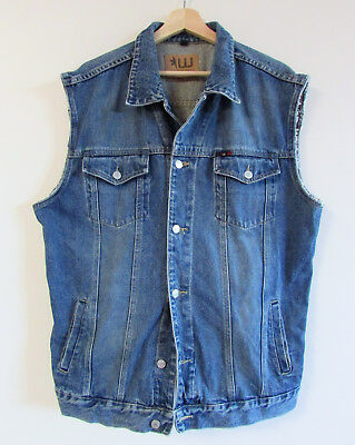 Westco Mens L/XL Vintage Blue Denim Collared Trucker Motorcycle Oversized Vest