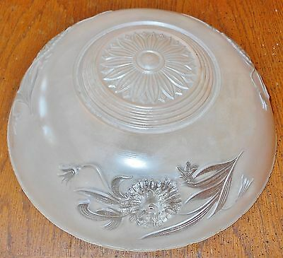 VINTAGE CLEAR & PEACH FROSTED GLASS 3 CHAIN CEILING SHADE 10 in DIAMETER