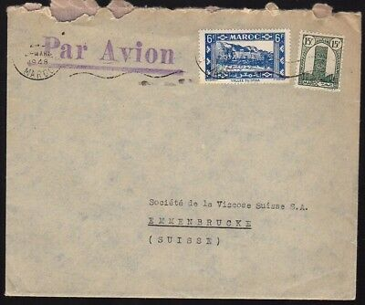 MOROCCO MAROC 1948 Air Mail Cover to Switzerland