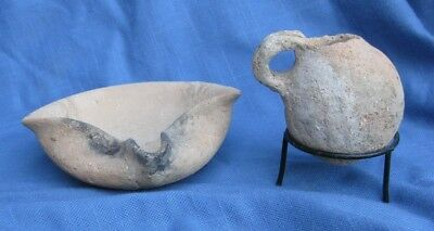 Ancient Terre cotta Oil Lamp and Jug on Stand  Circa 1550 BC