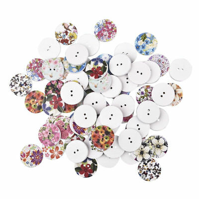 100Pcs Mixed Flower Pattern Round Shape Wooden Buttons 2 Holes DIY Sewing Crafts