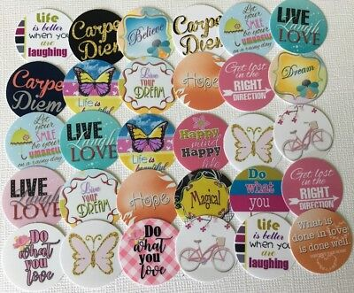 """30 PRECUT 1"""" Quotes Sayings Bottle Cap Images Cupcake Toppers Free Shipping #2"""